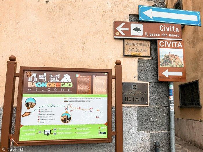 Indicazioni per Civita di Bagnoregio